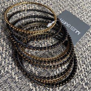 New Jules Smith Gold & Black Beaded Wrap Bangles